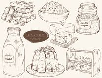 Sweet bakery - ingredients for chocolate pudding. stock illustration