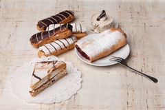Sweet bakery. Various sweet bakery products on cloth Stock Photos
