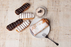 Sweet bakery. Various sweet bakery products on cloth Royalty Free Stock Image