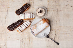 Sweet bakery. Various sweet bakery products on cloth Stock Photography