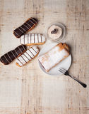 Sweet bakery. Various sweet bakery products on cloth Stock Images