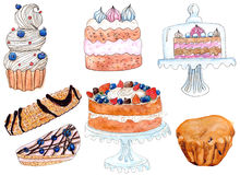 Sweet bakery, watercolor set. Set of sweet bakery: cupcake, cakes, cookie and muffin - watercolor painting on white Royalty Free Stock Images