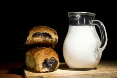 Sweet pastries and milk Stock Photo