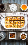 Sweet baklava with honey and nuts, rustic, traditional Turkish d Royalty Free Stock Photography