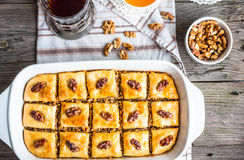 Sweet baklava with honey and nuts, rustic, traditional Turkish d Stock Image