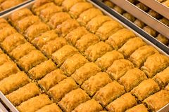Delicious baklawa tray - pastry shop. Sweet baklawas on tray. its traditional turkish dessert Stock Image