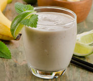 Sweet banana smoothie with mint Stock Image