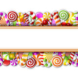 Sweet banner with colorful candies Royalty Free Stock Photos