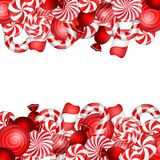 Sweet banner with lollipop and candies cane Royalty Free Stock Photography