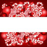 Sweet banner with lollipop and candies cane Royalty Free Stock Image