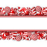 Sweet banner with red and white candies Stock Photography
