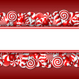 Sweet banner with red and white candies Royalty Free Stock Image