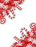 Sweet banner with white and red candies Stock Photo