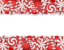 Sweet banner with white and red candies Royalty Free Stock Photos