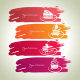 Sweet banners. Abstract banners with sweet cakes, design elements Royalty Free Stock Image