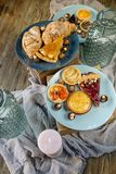 Sweet bar of delicious cakes, candies and pies on a wooden table stock images