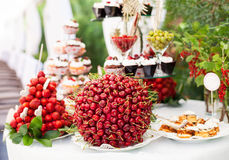 Sweet Bar With Berries And Cakes Stock Images