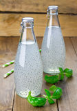 Sweet basil seed drink in glass bottles. Closeup royalty free stock image