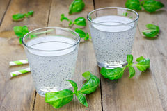 Sweet basil seed drink in glass. Closeup stock photos