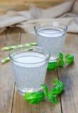 Sweet basil seed drink in glass. Closeup stock photo