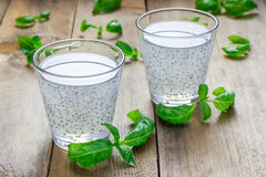 Sweet basil seed drink in glass. Closeup stock photography