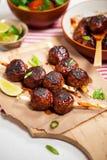 Sweet BBQ Meatballs Stock Photo