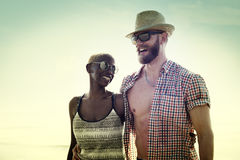 Sweet Beach Summer Holiday Couple Love Concept Stock Photos