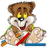 Sweet Bear and Crayons Royalty Free Stock Photos