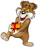 Sweet Bear and Gift Royalty Free Stock Photos