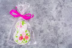 Sweet beautiful gingerbread gift to international women`s day. Studio Photo Stock Image