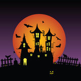 Sweet and beauty castle with bats vector Royalty Free Stock Photo