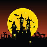 Sweet and beauty castle with bats vector part one Stock Photo