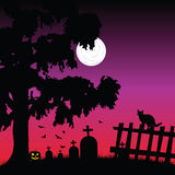 Sweet and beauty cementery with bats vector Royalty Free Stock Images