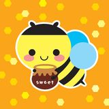 Sweet bee. A cute bee with honey royalty free illustration