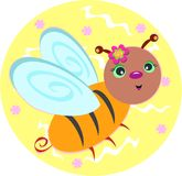 Sweet Bee with Floral Background Royalty Free Stock Images