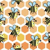 Sweet bee in honecomb pattern vector illustration