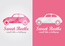 Sweet Beetle creative design smell like a lollipop. Pink form and beauty Royalty Free Stock Photos