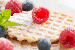 Sweet Belgian waffles with fresh berries, selective focus Stock Photos