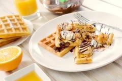 Sweet Belgian waffles in plate Stock Image