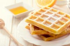 Sweet Belgium waffles Royalty Free Stock Images