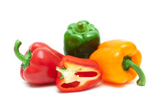 Sweet bell pepper closeup on a white background Stock Photo