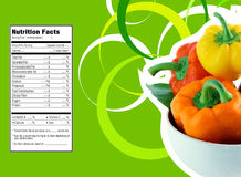 Sweet  bell pepper nutrition facts. Creative Design for sweet  bell pepper  with Nutrition facts label Stock Photo