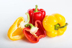 Sweet bell pepper red and yellow, and a cross-sectional Royalty Free Stock Photo