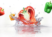 Sweet bell peppers multicolors falling and splashing into clear Stock Photos