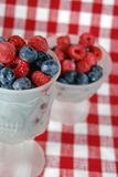 Sweet Berry. Fresh blueberries and raspberries in frosted glassware Royalty Free Stock Photo