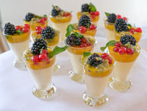 Sweet berry desserts. Sweet milk and berry desserts Stock Image