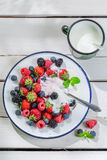Sweet berry fruits with yogurt Stock Images
