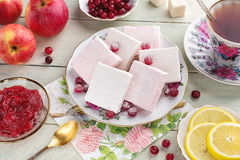 Sweet berry locum with tea Stock Images