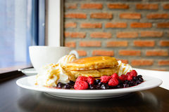Sweet berry pancake Stock Photo