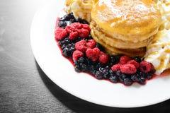 Sweet berry pancake Stock Images